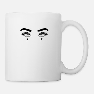 Emo Emo Gothic E-Girl eyes with hearts - Mug