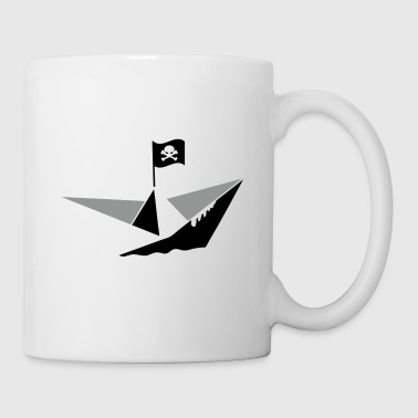 A paper boat with a pirate flag - Mug