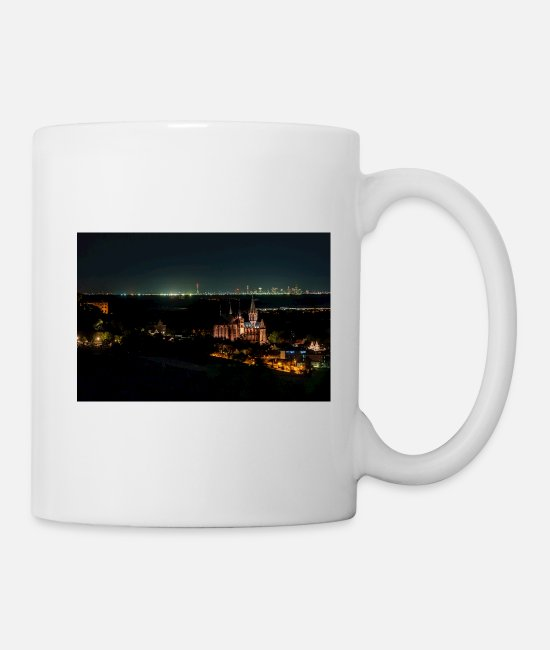 Frankfurt Am Main Mugs & Drinkware - Katharinenkirche Oppenheim in front of Frankfurt skyline - Mug white