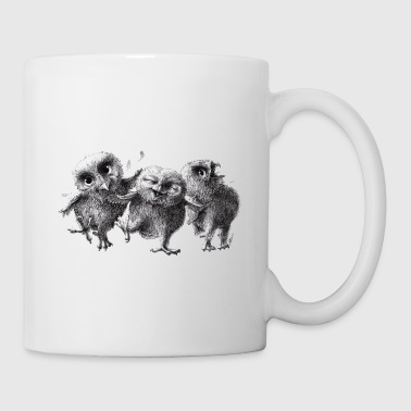 Chine chouettes - three crazy owls - Mug blanc