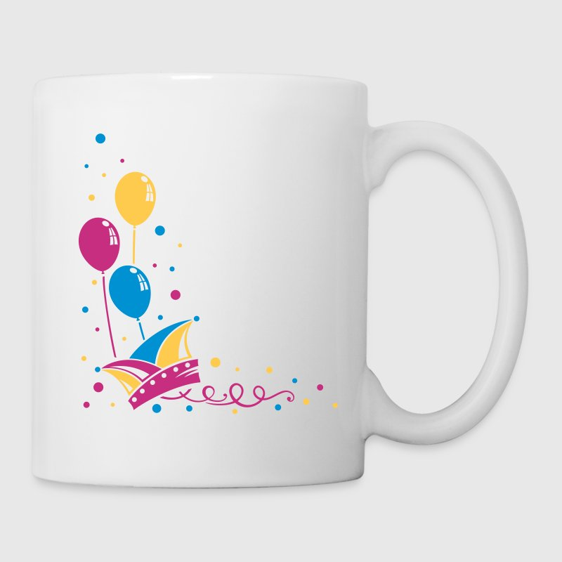 Carnival hat with balloons, streamer and confetti. - Mug