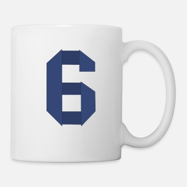 Number Origami number six - number design blue - Mug
