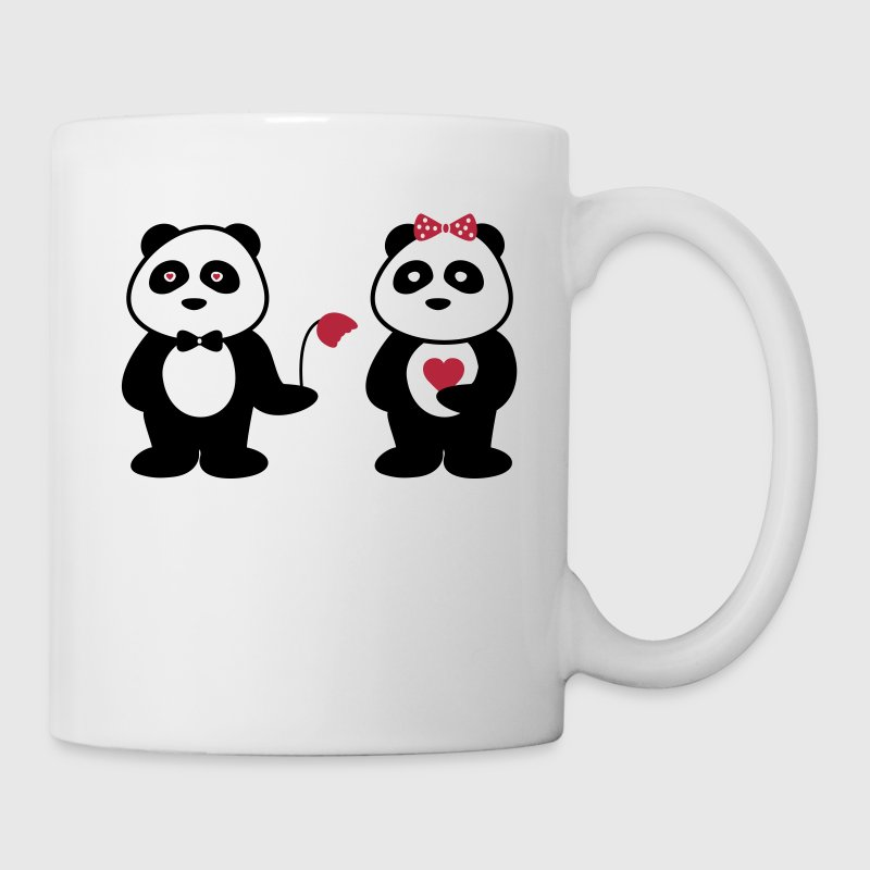 panda in love,Panda en couple - Mug blanc