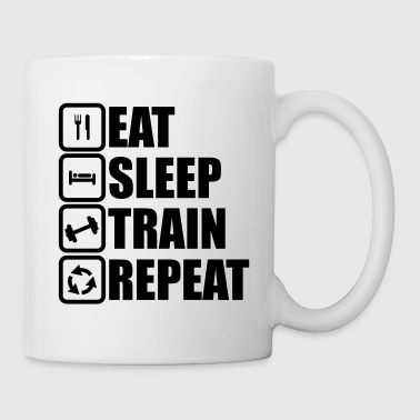 Funny Gym eat sleep train repeat,bodybuilding  - Tazza