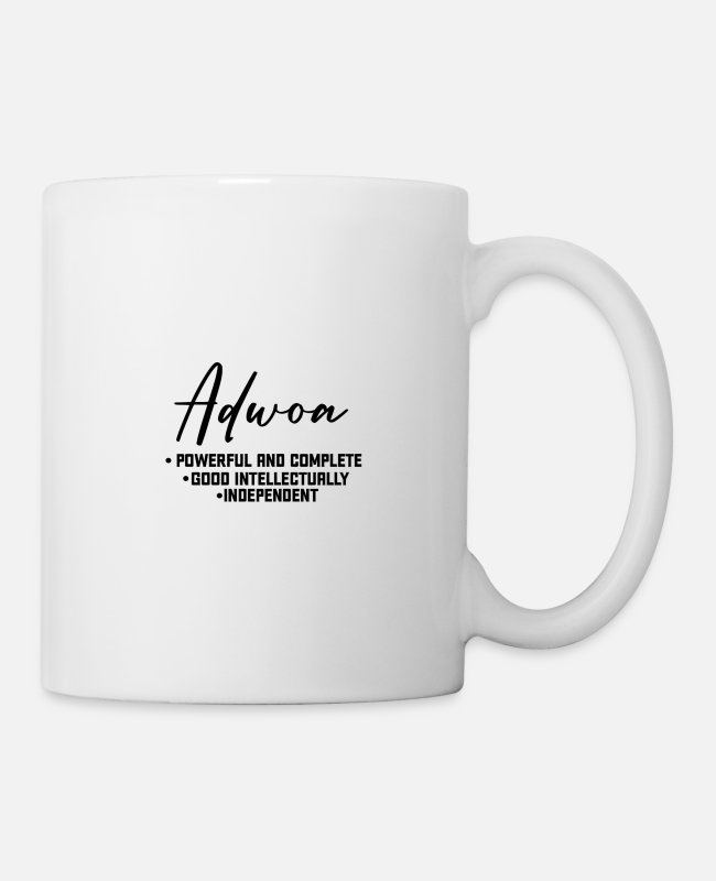 Gold Mugs & Drinkware - Call me by my name ! ADWOA Ghana - Monday. - Mug white