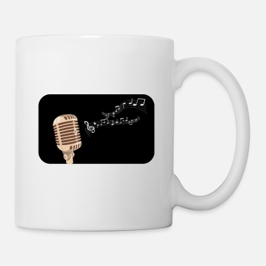 Punk Microphone silhouette multicolored notes - Mug