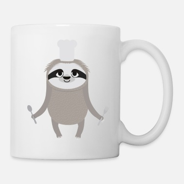 Restaurant Sloth cook chef with fork and spoon - Mug