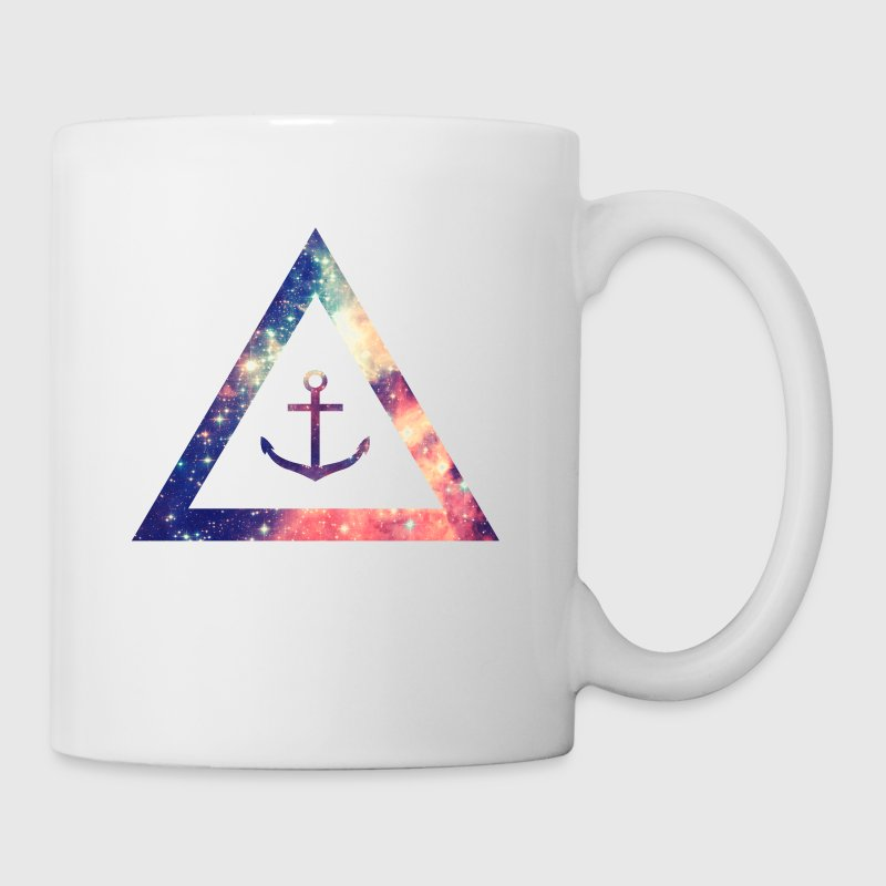 Galaxy / universe / hipster triangle with anchor - Taza