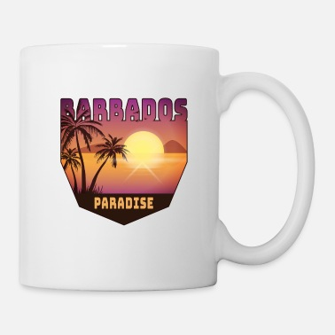National Colours Barbados design with palm trees and sun / gift - Mug