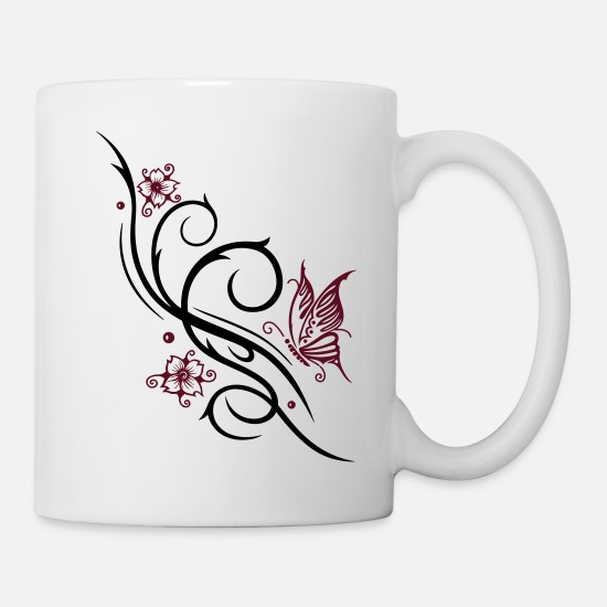 Lucky Mugs & Drinkware - Cherry blossoms with butterfly - Mug white