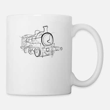 Line Drawing Locomotive train - one line drawing - Mug