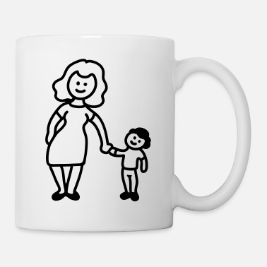 Kindergarten Mutter / Oma + Kind - Line - Tasse