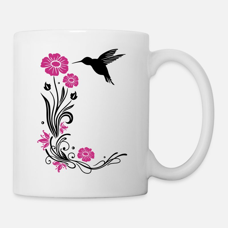 Floral Mugs & Drinkware - Floral motif with flowers and hummingbird. - Mug white