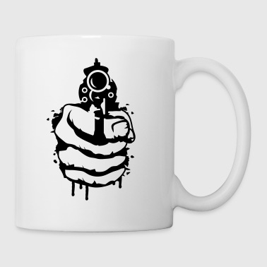 A revolver in his hand as a graffiti - Mug