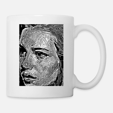 Graffiti Art photo noir et blanc femme émotion - Mug