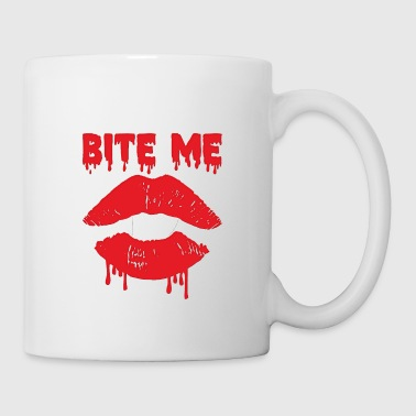 Kissing Lips Bite Me Shirt Halloween Vampire Dracula Gift - Mug