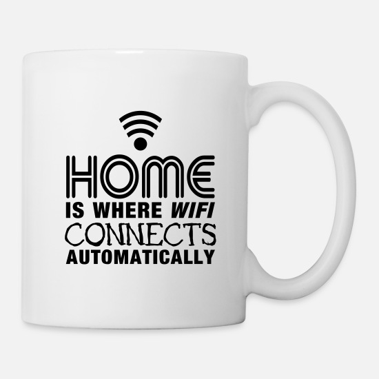 Computer Krus & tilbehør - home is where the wifi connects automatically II - Krus hvid