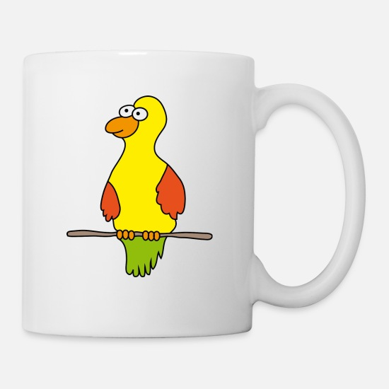 Plumage Mugs & Drinkware - Parrot bird cage cartoon cartoon birds ara feathers - Mug white