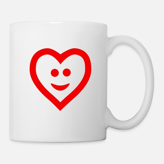 S'aimer Mugs et récipients - Heart with smile - Mug blanc