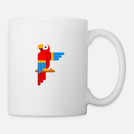 Animal Rights Activists Mugs & Drinkware - colorful parrot tropical rainforest macaw - Mug white