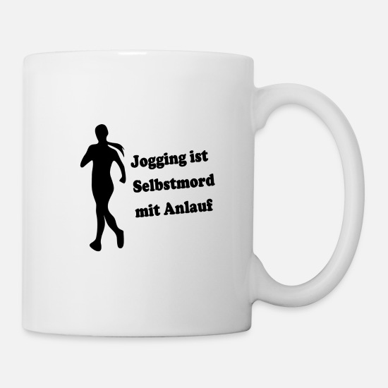 Running Mugs & Drinkware - Jogging is suicide with startup - Mug white