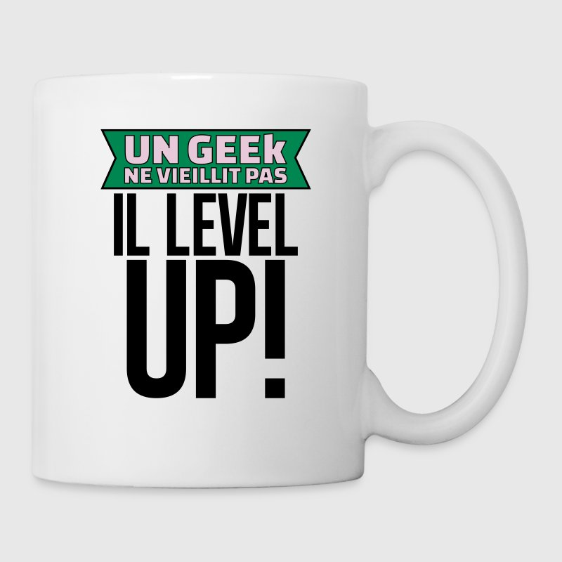 un geek ne vieillit pas il level up - Mug blanc