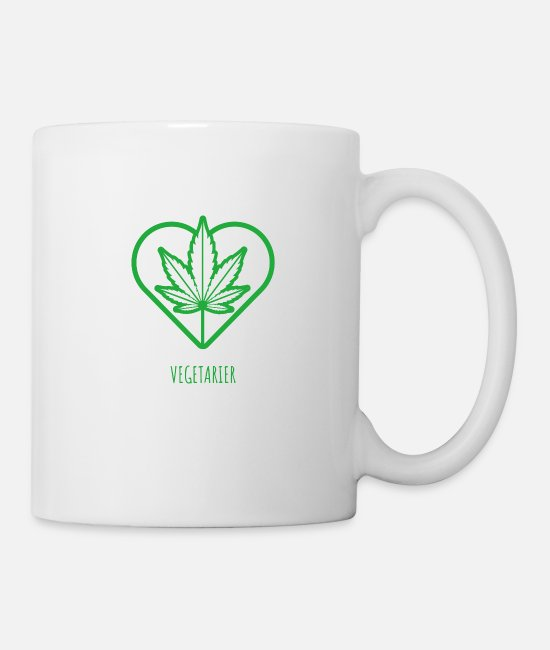 Hemp Mugs & Drinkware - Vegetarian I Weed Cannabis CBD 420 Hemp Heart Love - Mug white