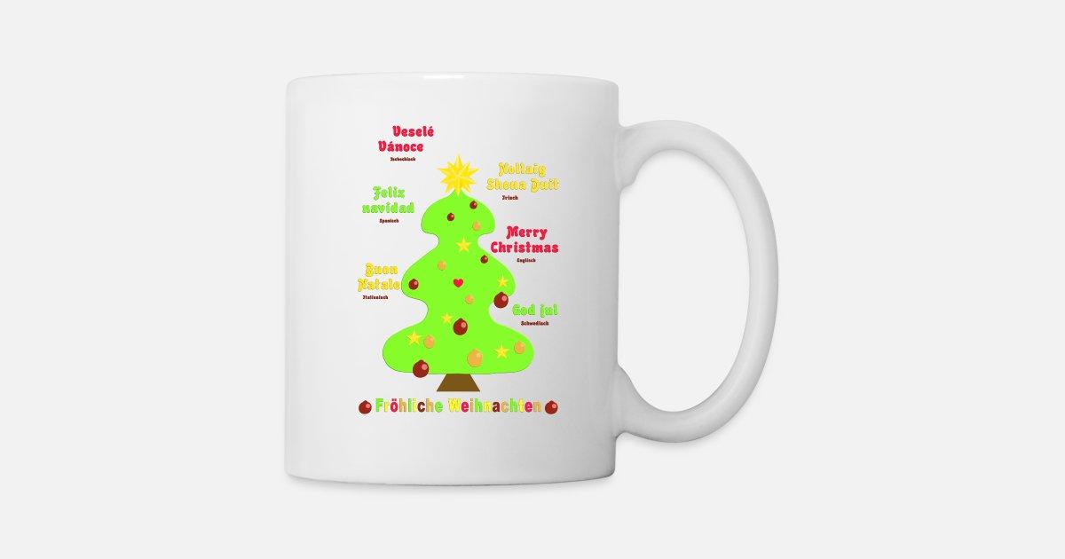 Frohe Weihnachten Irisch.Fröhliche Weihnachten 2 Auf 7 Sprachen Tasse Spreadshirt