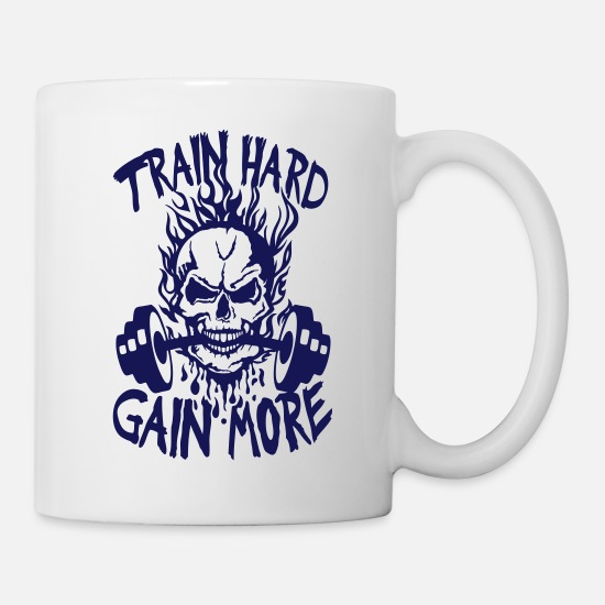 Musculation Mugs et récipients - train hard gain more citation musculatio - Mug blanc