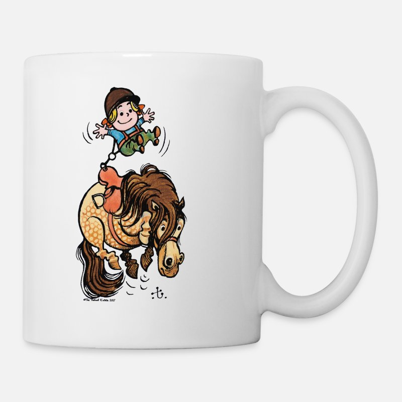 Officialbrands Mugs & Drinkware - Thelwell Funny Illustration Bucking Horse - Mug white