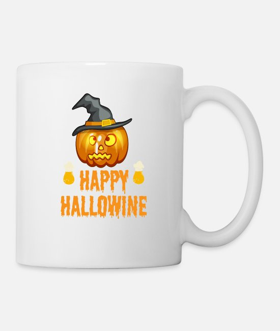 Mouth-nose Mask Mugs & Drinkware - Happy hallowine halloween pumpkin - Mug white
