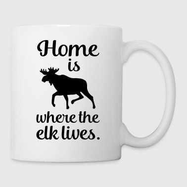 Home is where the elk lives Scandinavia Fan Saying - Mug
