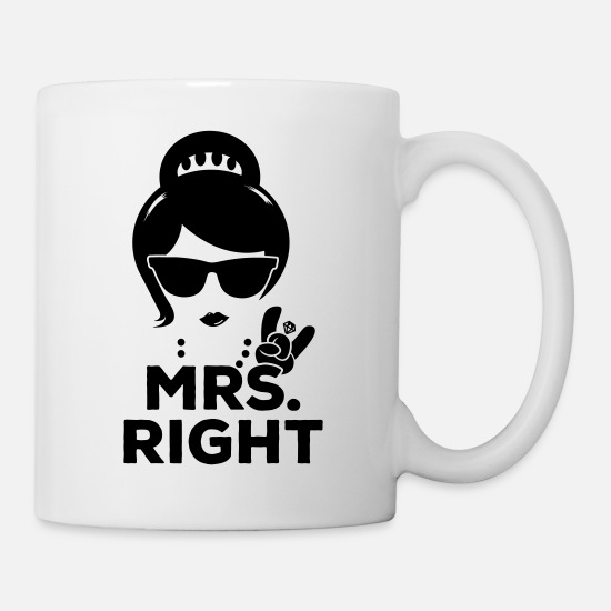 Retro Mugs & Drinkware - Funny matching pair Mr. Right and Mrs. Right - Mug white