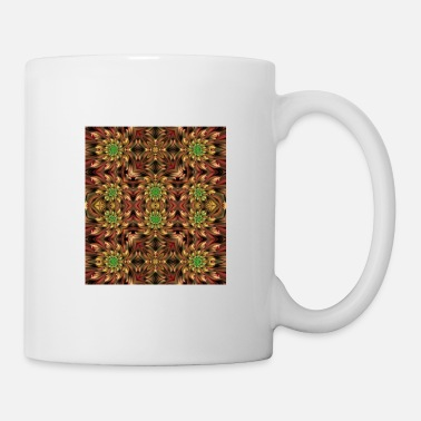 Ornament FRACTAL PATTERN GREEN/YELLOW FLOWERS - Tasse