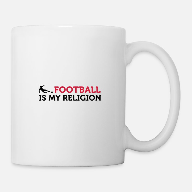 Religion Mugs & Drinkware - Football Quotes: Soccer Is My Religion - Mug white