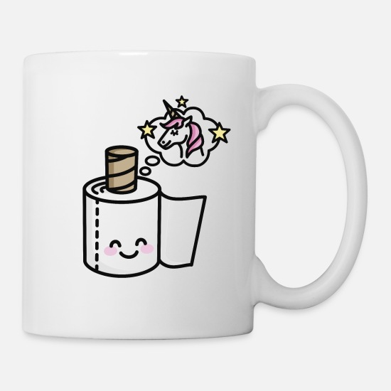 Beautiful Mugs & Drinkware - Never grow up - Unicorn toilet paper - Mug white