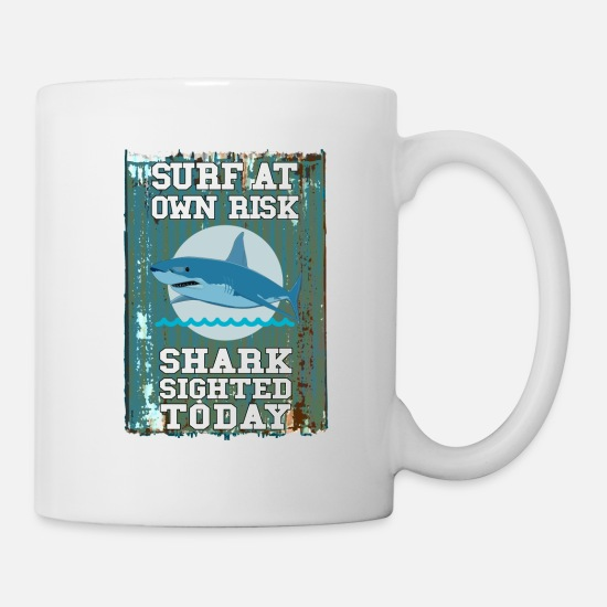 Shark Fin Mugs & Drinkware - Surf at your own risk - surf at own risk - Mug white