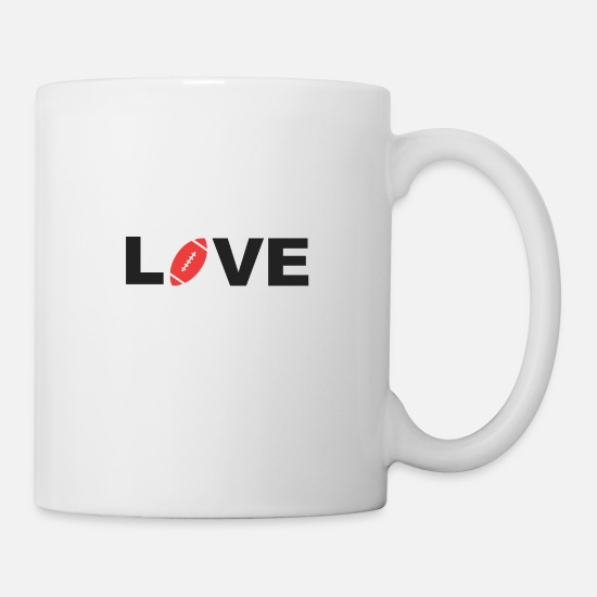 Footballeur Mugs et récipients - Love Football T-shirt de fan de football américain - Mug blanc