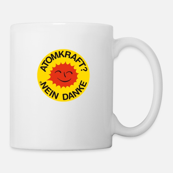 Chernobyl Mugs & Drinkware - Nuclear power? No thank you! Logo smiling sun - Mug white
