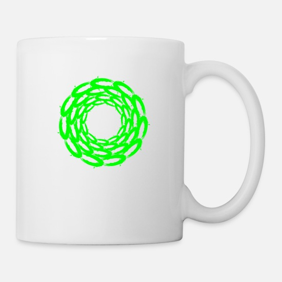 Green Mugs & Drinkware - Circle Design Circular Optical Illusion - Mug white