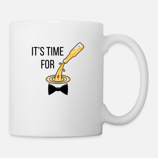 Hangover Mugs & Drinkware - It's Time For Drinking! (Bottle / Beer / Bow Tie) - Mug white