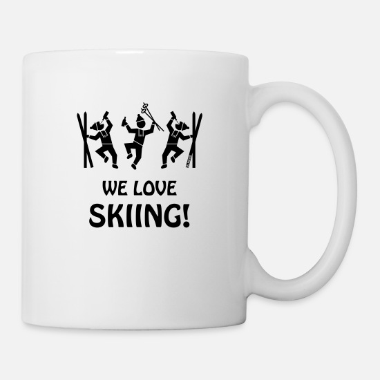Rocky Mountains Mugs & Drinkware - We Love Skiing! (Après- / Apres Ski / Beer) - Mug white