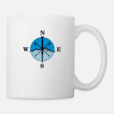 Winter Skiing, skis, mountains and compass with degrees - Mug