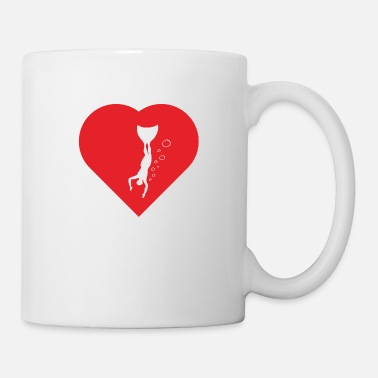 Agility Freediver swimming into depths of heart - Mug