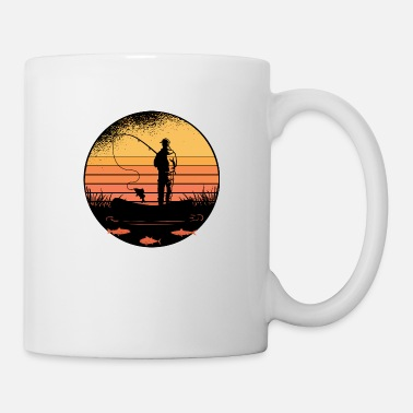 Perch Angler at sea with his gift fishing rod - Mug