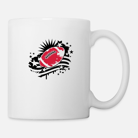 Action Mugs & Drinkware - Football with an American flag, Stars and Stripes - Mug white
