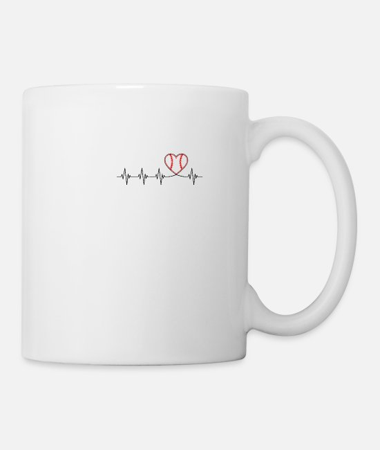 Birthday Mugs & Drinkware - Baseball Heartbeat - baseball - Mug white