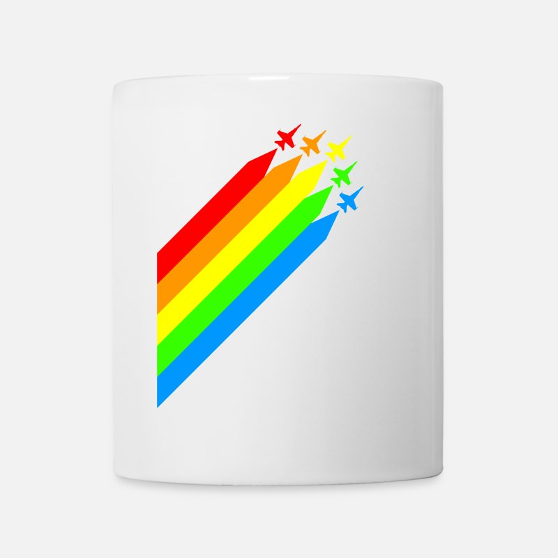 Aviation Mugs & Drinkware - jetfighters - colorful - peace - war - diagonal - Mug white