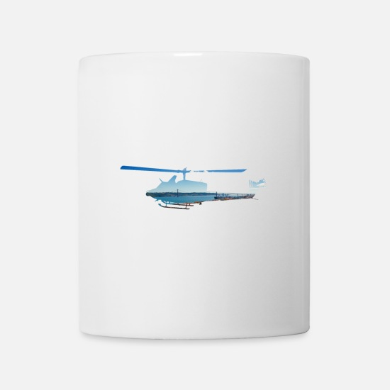 Fly Mugs & Drinkware - Helicopter with bridge and blue sky - Mug white