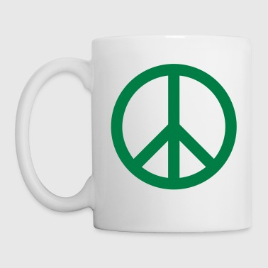 Peace Sign Filled Green - Mug